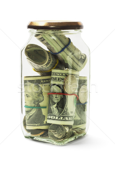 Cash in Glass Jar Stock photo © dezign56