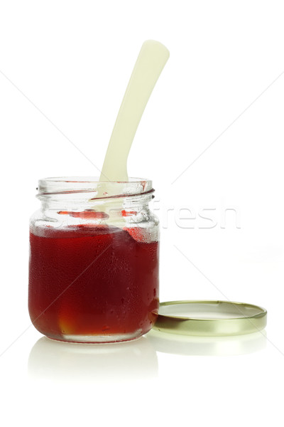 Stock photo: open jar of mixed fruit jam
