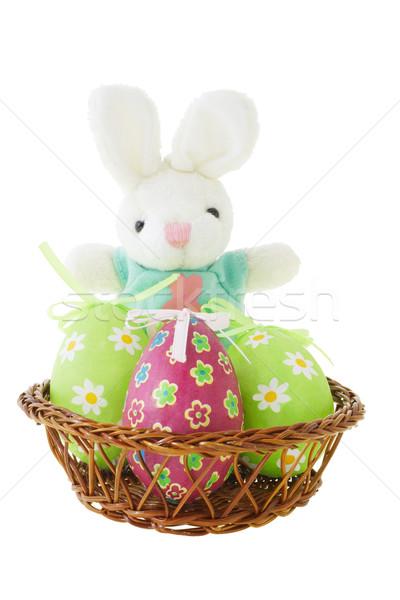 Coelhinho da páscoa ovos cesta branco rabino coelho Foto stock © dezign56