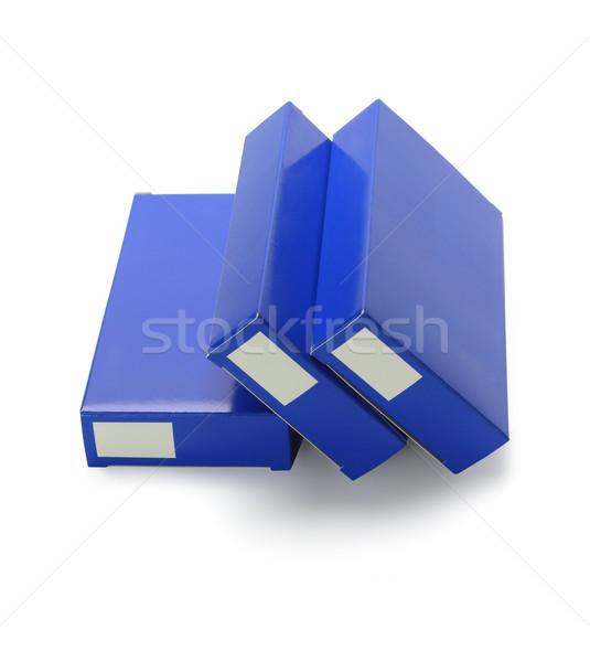 Tıp karton kutuları paketleme beyaz mavi Stok fotoğraf © dezign56