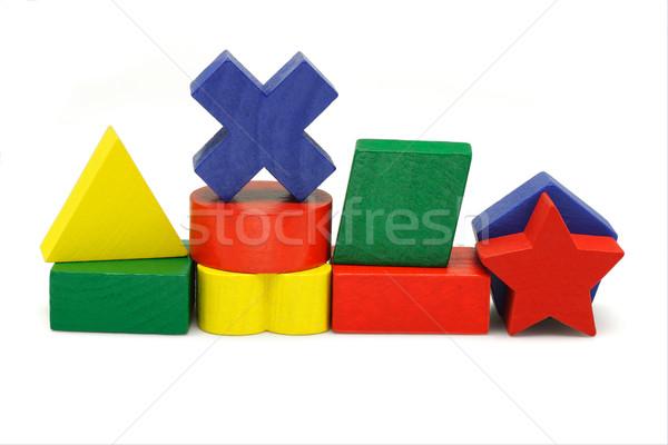 Fa játék kockák fából készült mértani építőkockák fehér Stock fotó © dezign56