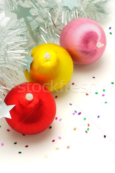 Рождества украшения три красочный серебро гирлянда Сток-фото © dezign56