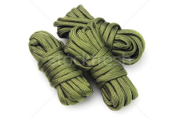 Três verde grupo corda segurança pára-quedas Foto stock © dezign56