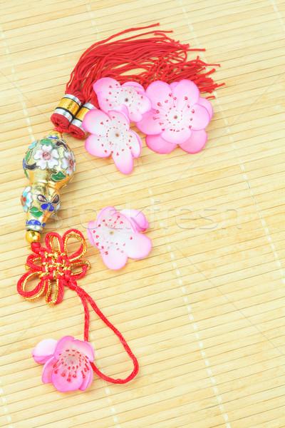 üveg dísz kínai új év bambusz virág ünneplés Stock fotó © dezign56