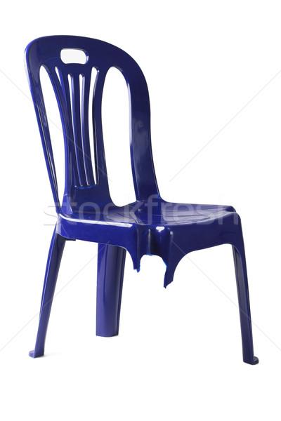 Trzy plastikowe krzesło złamana noga biały meble Zdjęcia stock © dezign56