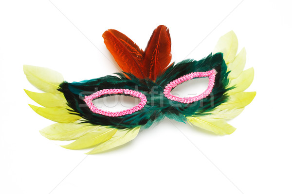 Buli arc maszk díszített színes tollak Stock fotó © dezign56