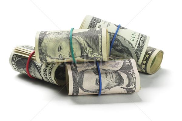 Tekercsek dollár pénz pénzügy zenekar dollár Stock fotó © dezign56
