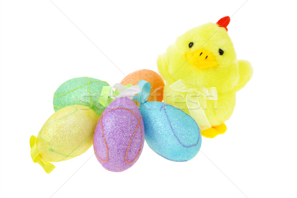 Renkli paskalya yumurtası anne tavuk beyaz yumurta Stok fotoğraf © dezign56