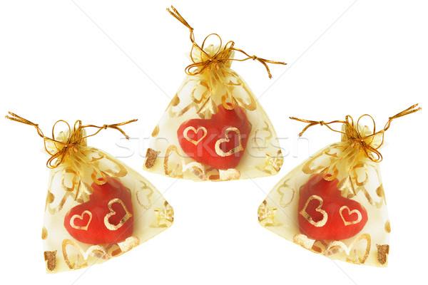 Amor coração vermelho corações dourado casamento Foto stock © dezign56