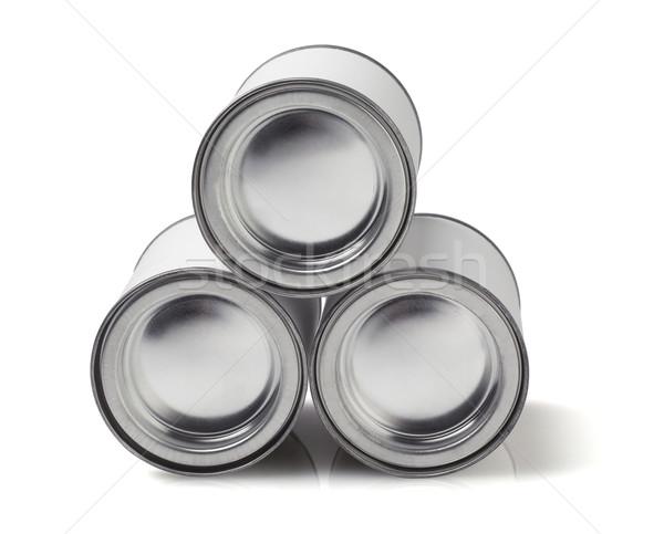 Három konzervdoboz boglya csoport ipar újrahasznosít Stock fotó © dezign56