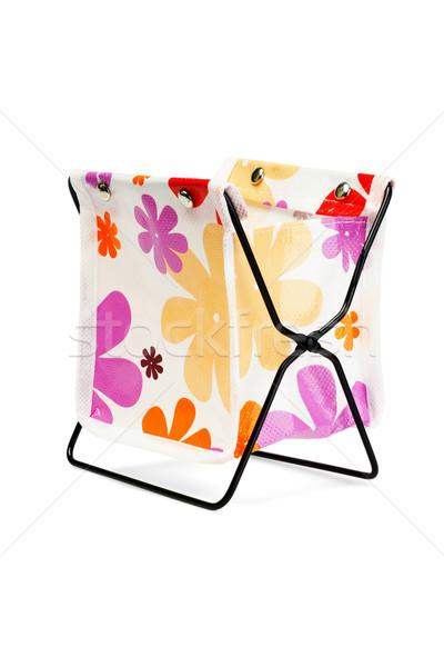 Mini masaüstü kırtasiye konteyner beyaz çanta Stok fotoğraf © dezign56