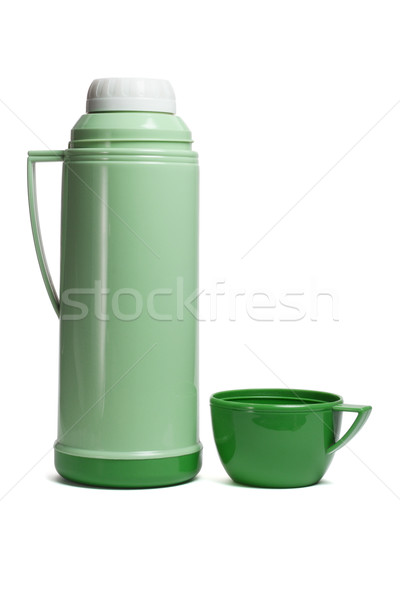 Green plastic thermos flask Stock photo © dezign56