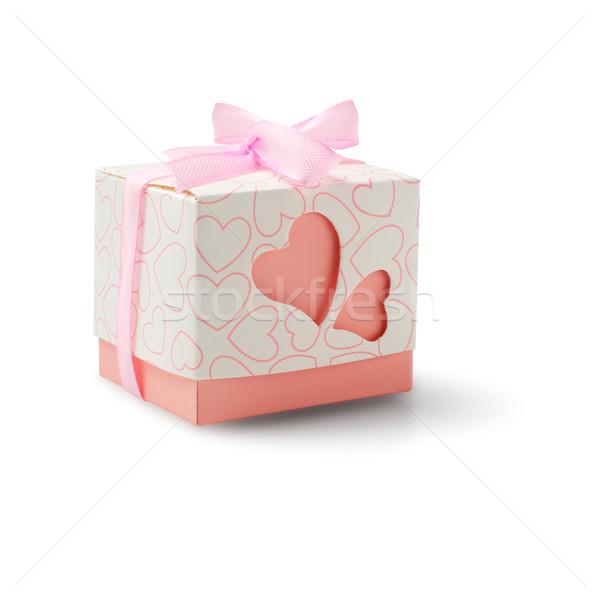 Hediye kutusu sevmek kalpler yay şerit beyaz Stok fotoğraf © dezign56