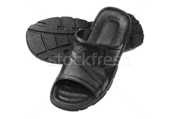 Zwarte slippers witte mode mannen schoenen Stockfoto © dezign56