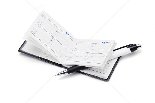 Címkönyv toll mini fehér könyv háttér Stock fotó © dezign56