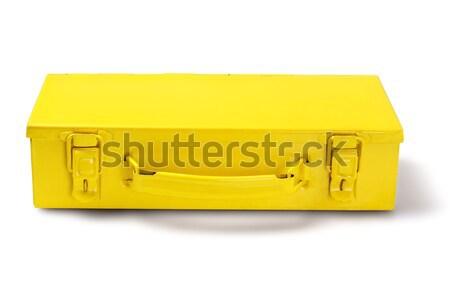Fém szerszámosláda citromsárga fehér építkezés szerszám Stock fotó © dezign56