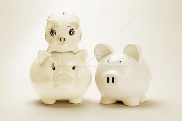 Család malac bankok három végtelenített pénzügy Stock fotó © dezign56