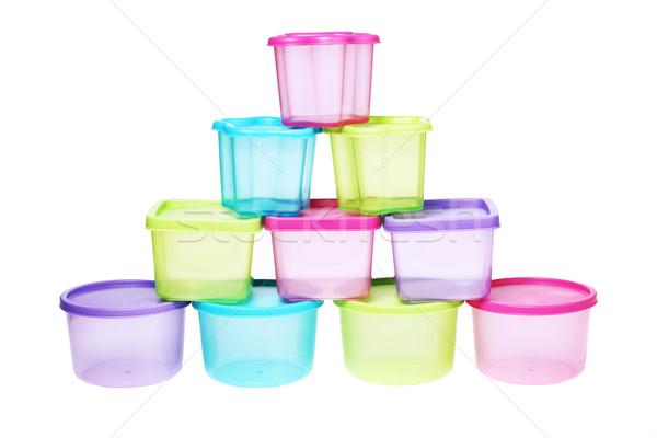 Kleurrijk plastic ontwerp container piramide Stockfoto © dezign56