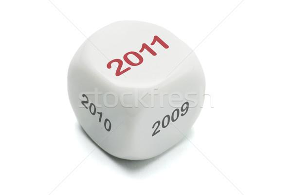 Nouvelle année 2011 blanche dés jeu plan Photo stock © dezign56