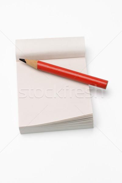 Curto lápis mini bloco de notas vermelho branco Foto stock © dezign56