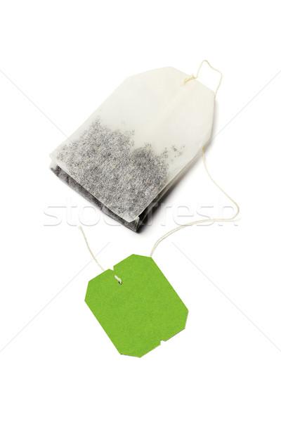 Yeşil çay çanta etiket beyaz içmek çay Stok fotoğraf © dezign56