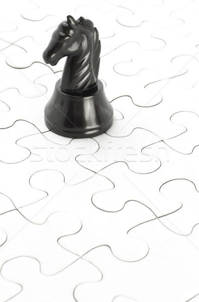 Fekete lovag kirakós játék fehér copy space terv Stock fotó © dezign56
