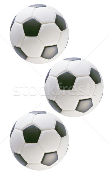 Három futball golyók feketefehér fehér sportok Stock fotó © dezign56