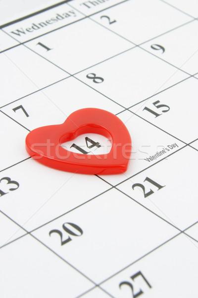 14 día de san valentín forma de corazón marcador calendario página Foto stock © dezign56
