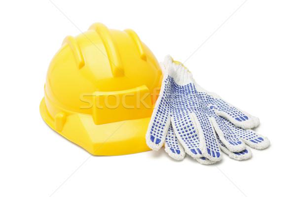 Sarı pamuk eldiven beyaz endüstriyel Stok fotoğraf © dezign56