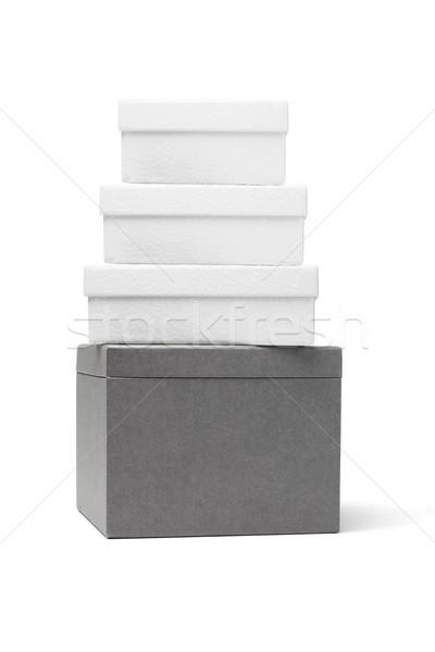 Hediye kutuları karton beyaz hediye sunmak Stok fotoğraf © dezign56