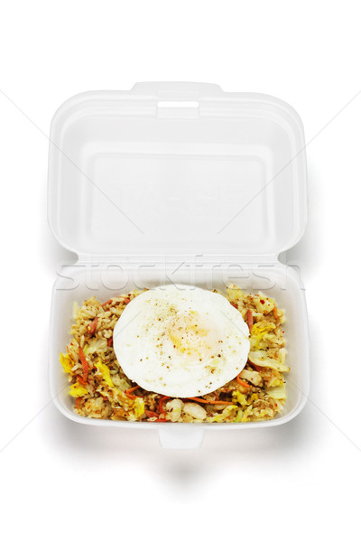 Fried rice with egg in open Styrofoam box Stock photo © dezign56