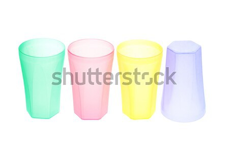 Coloré vide plastique blanche verre Photo stock © dezign56