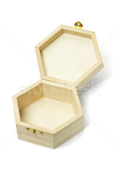 Open wooden hexagonal shape storage box  Stock photo © dezign56