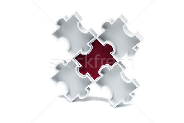 ジグソーパズル 赤 センター 白 ピース 抽象的な ストックフォト © dezign56