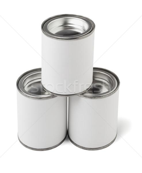 Három konzervdoboz boglya ipar konténer címke Stock fotó © dezign56