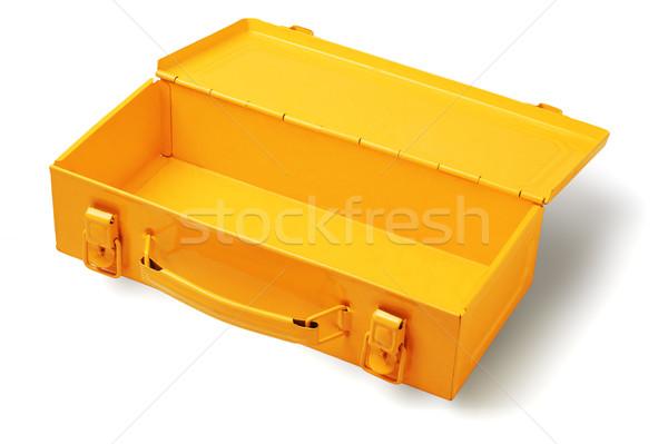 üres szerszámosláda nyitva fém fehér építkezés Stock fotó © dezign56