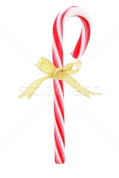 Bonbons canne arc ruban blanche Noël Photo stock © dezign56