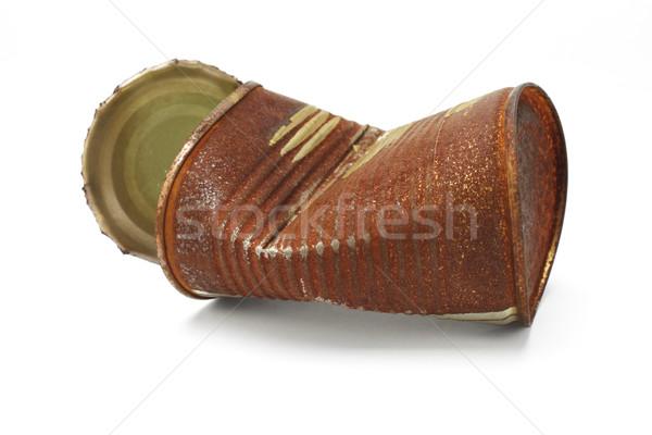 Rostigen tin kann weiß Metall Rost Stock foto © dezign56