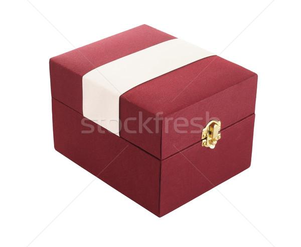 Сток-фото: красный · шкатулке · белый · подарок · блокировка · настоящее