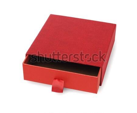 Piros üres ajándék doboz nyitva fehér ajándék Stock fotó © dezign56