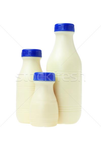 Műanyag üvegek friss tej fehér egészség kék Stock fotó © dezign56