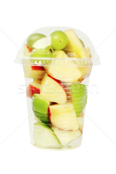 Kesmek meyve plastik fincan karışık beyaz Stok fotoğraf © dezign56