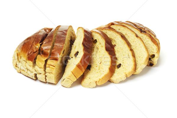 Szeletel mazsola kenyér friss textúra gyümölcs Stock fotó © dezign56