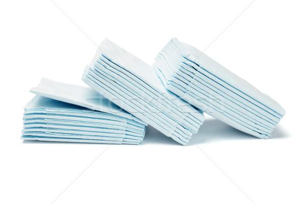 Kék összehajtva papírzsebkendő papírok fehér életstílus Stock fotó © dezign56
