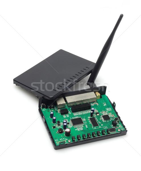 Foto d'archivio: Wireless · modem · interno · componenti · bianco · rete