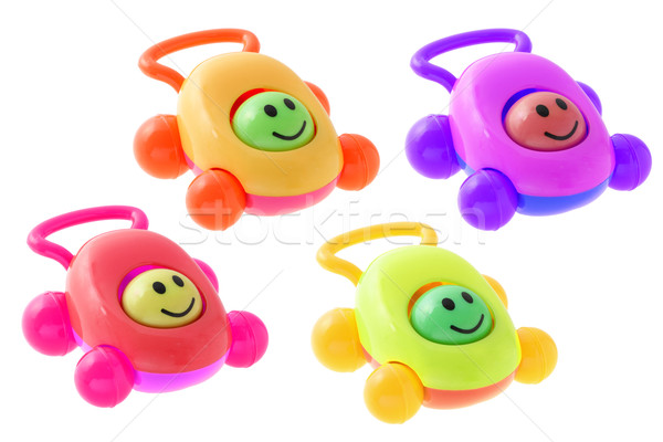 Colorful smiley baby rattle cars Stock photo © dezign56