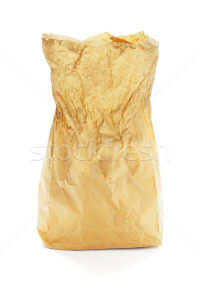 Open carta marrone bag piedi bianco pranzo Foto d'archivio © dezign56