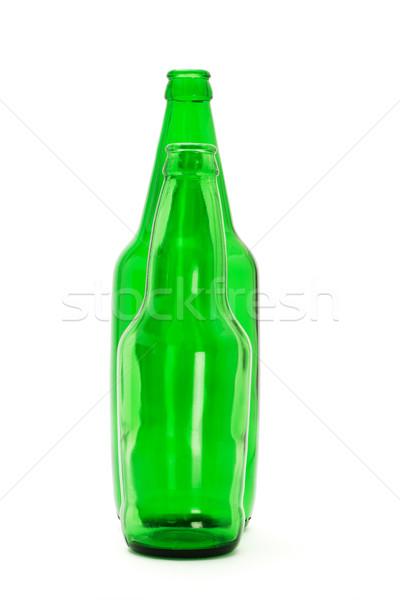 Dois verde cerveja garrafas vidro isolado Foto stock © dezign56
