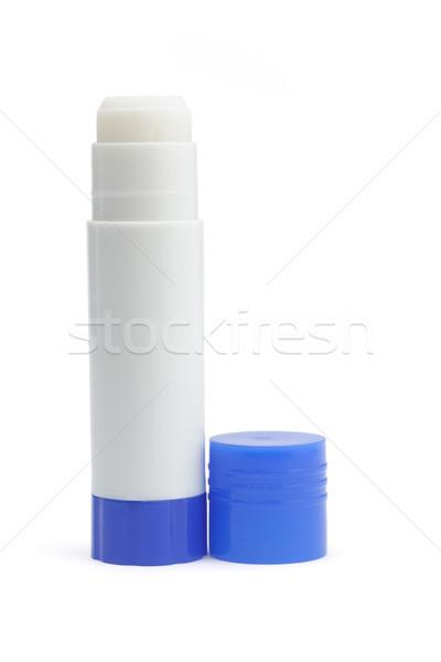 Papier lijm stick Open Blauw cap Stockfoto © dezign56