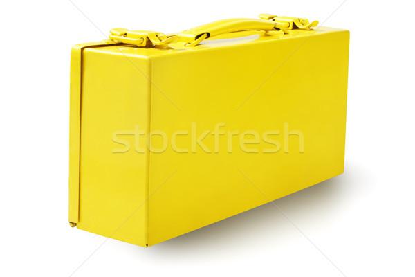 Gelb Werkzeugkasten weiß Bau Tool Container Stock foto © dezign56